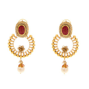 Radiant Ruby, Pearls, and Polki earrings made in 22 karat gold