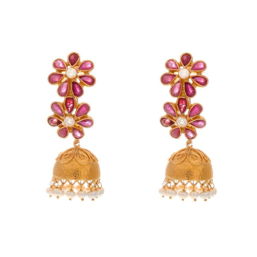 Jhumka Bali with floral Ruby design and dangling Pearls made in 22 karat gold