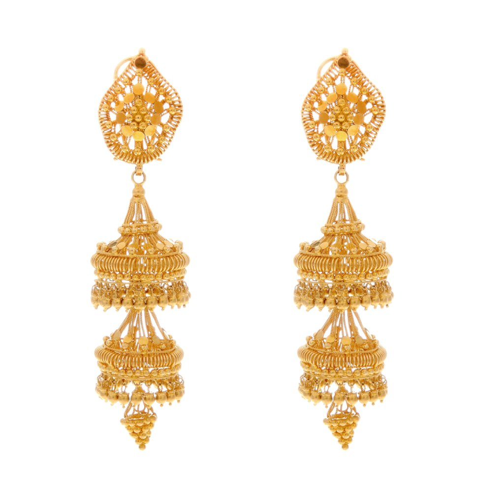 3-Tier Jaipuri Jhumka handcrafted in 22 karat gold