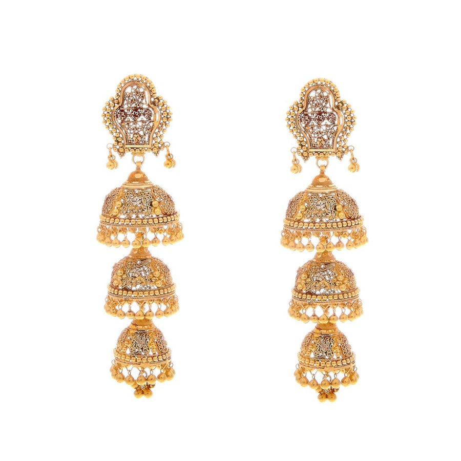 4-Tier Jaipuri Jhumka in Antique and Rhodium finish handcrafted in 22 karat gold