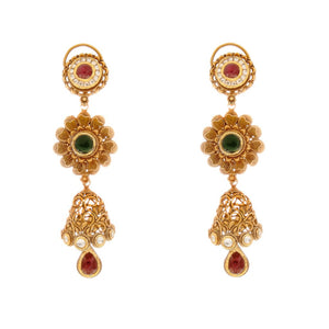 Elegant Ruby and Kundan earrings in floral design made in 22 karat gold
