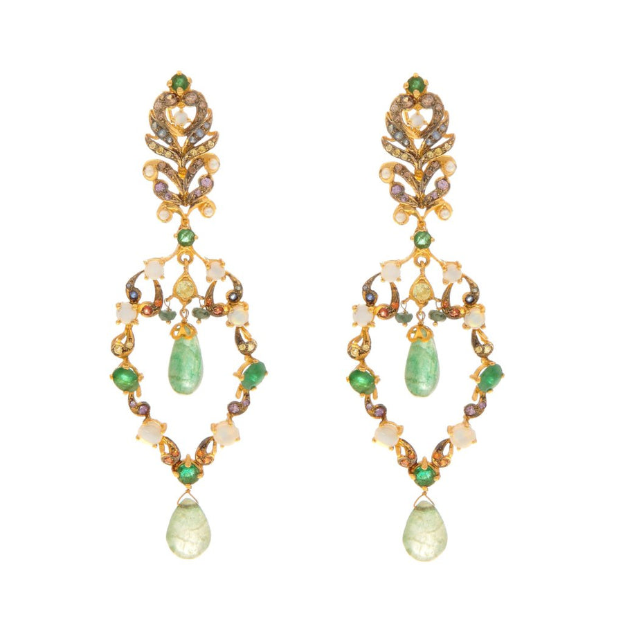 Trendsetting Emeralds, Opals, and Citrine earrings in 22k gold