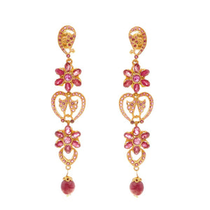 Floral patterned ruby earrings made in 22k gold