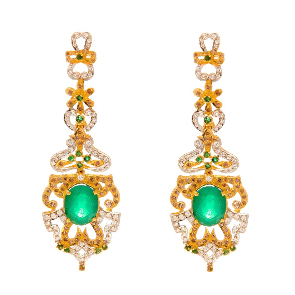 Unbelievably gorgeous Jade earrings made in 22k gold