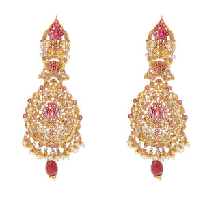 Graceful Rubies and Pearls earrings handmade in 22 karat gold