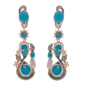 Brilliant Blue Turquoise and CZ earrings with 3-tone polish handcrafted in 22k gold