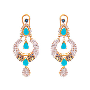 Glitzy Turquoise, Sapphire, and CZ earrings handmade in 22k gold