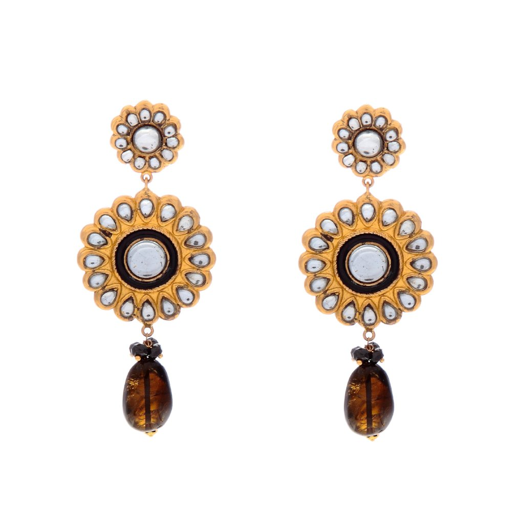 Classic Kundan and Onyx earrings in 22k gold