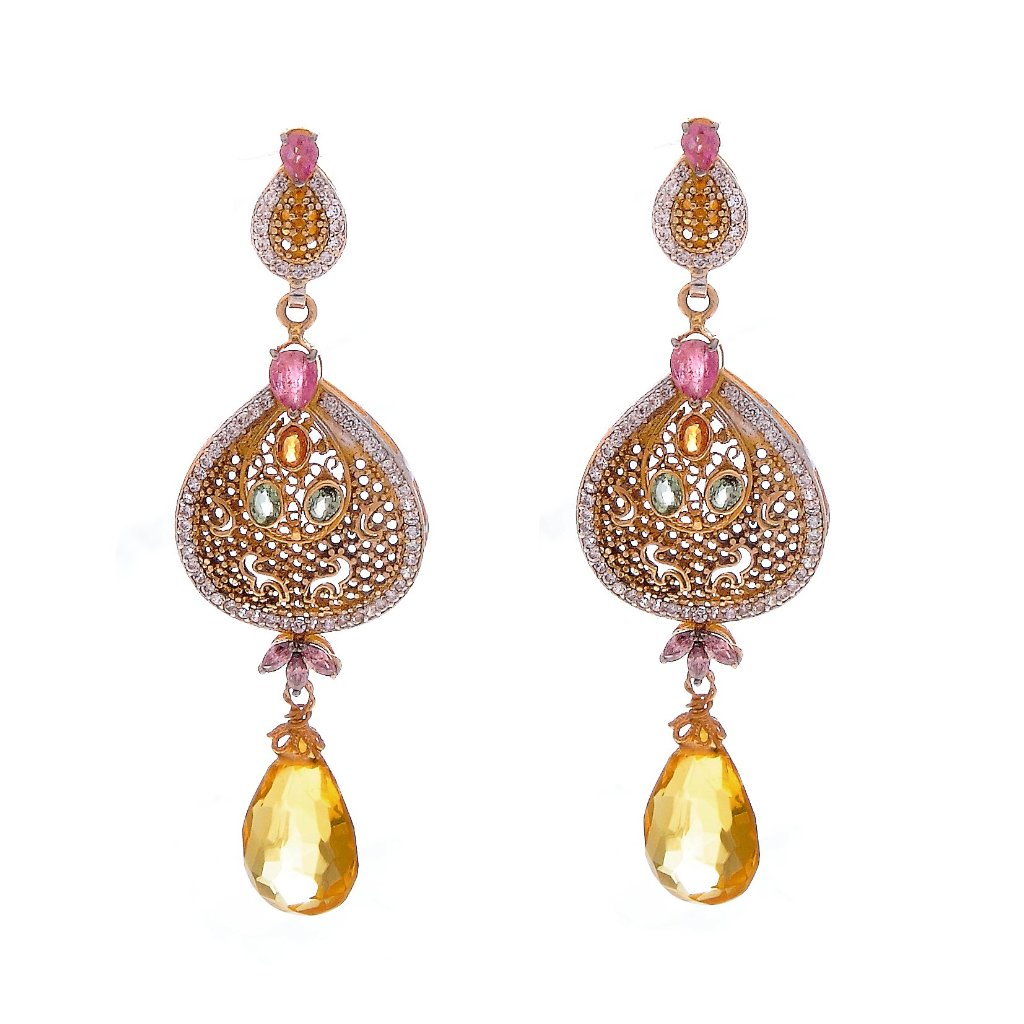 Gorgeous multi-color Tourmaline earrings handmade in 22k gold