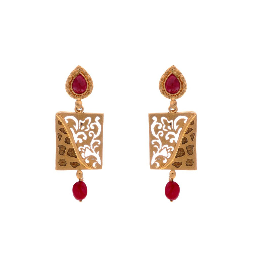 Gorgeous Ruby earrings with outstanding filigree work made in 22k gold