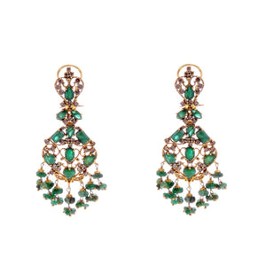 Elegant Emerald earrings with Smokey Quartz made in 22k gold