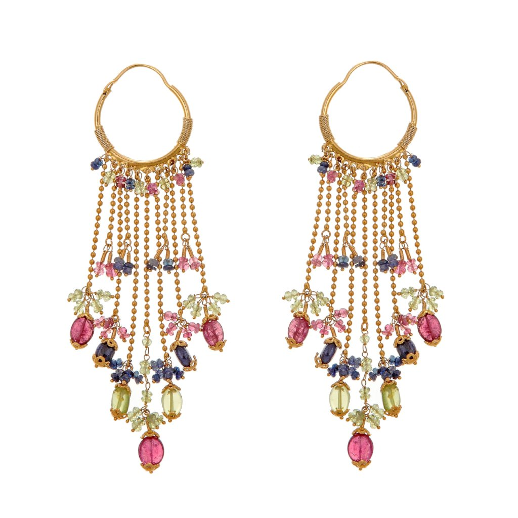 Colorful long earrings with Tourmaline, Sapphires, and Rubies made in 22k gold