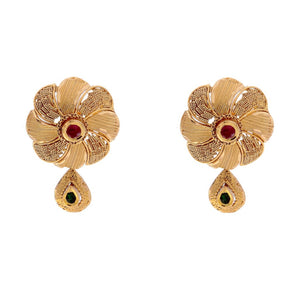 Floral designed earrings with Ruby and Cubic Zirconia made in 22k gold