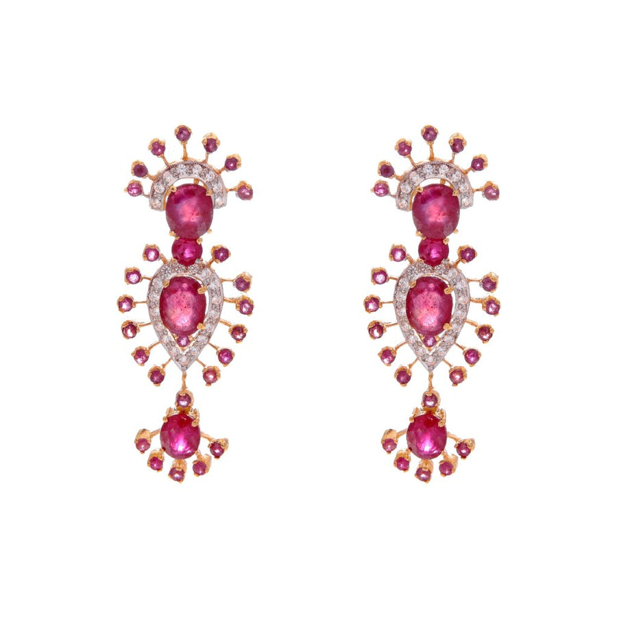 Exotic Ruby and CZ earrings made in 22k gold