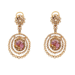 Floral pattern Polki and Smokey Quartz earring made in 22k gold