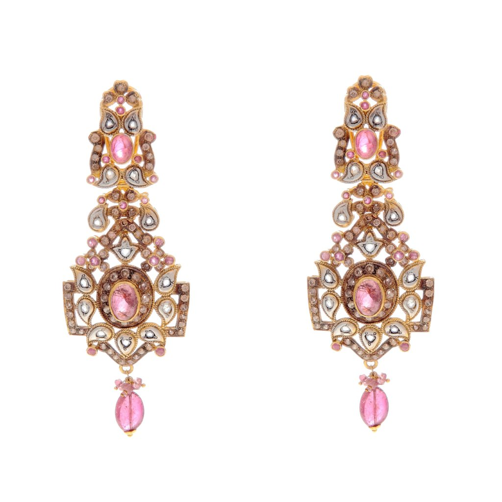 Finely crafted pink Tourmaline and Cubic Zirconia earring made in 22k gold