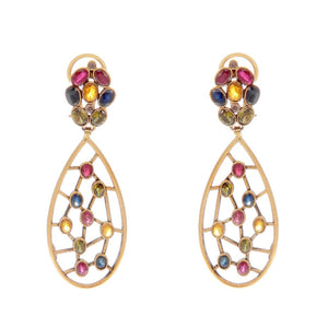 Vivid floral and tear drop design earrings made in 22k gold
