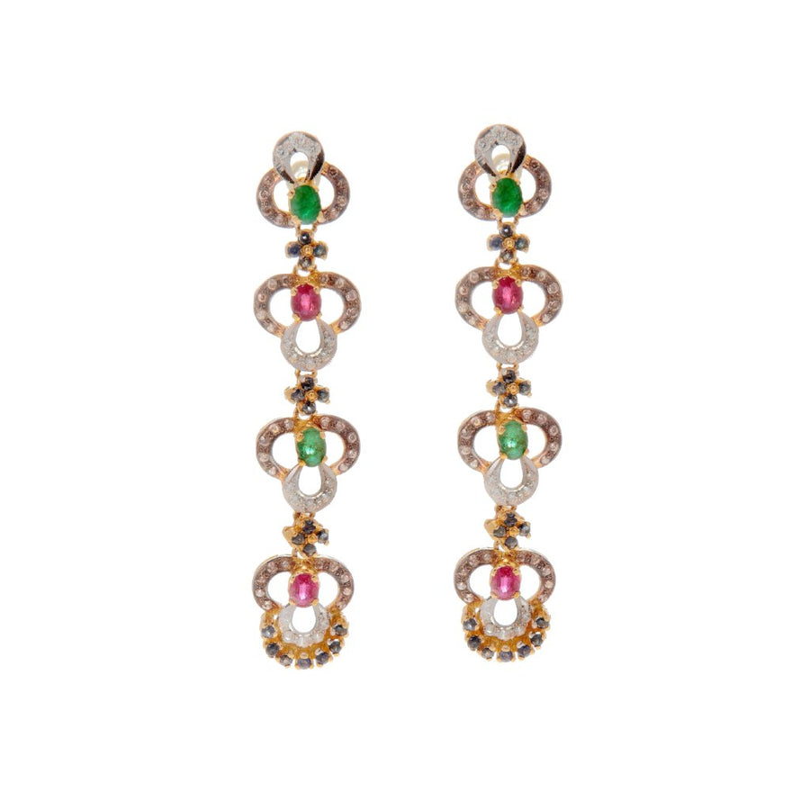 Trinity design ruby, emerald, and sapphire earrings made in 22k gold