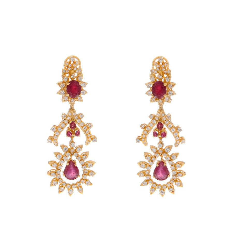 Beautiful Red Ruby earrings with Cubic Zirconia made in 22 karat gold