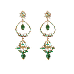 Teardrop design earrings in Emeralds made in 22k gold