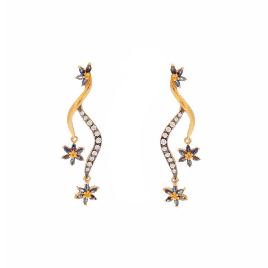 Sleek Sapphire and Cubic Zirconia earrings made in 22k gold