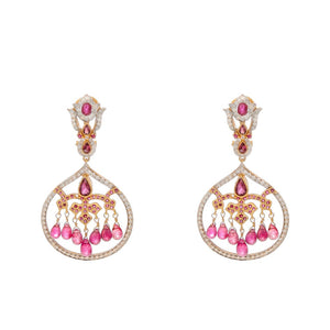Breathtaking Ruby, Tourmaline, and Cubic Zirconia earrings made in 22k gold with 2-tone finishing