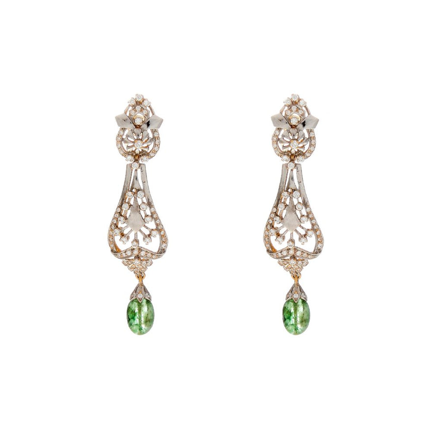 Eye-catching Emerald drop earrings made in 22k gold