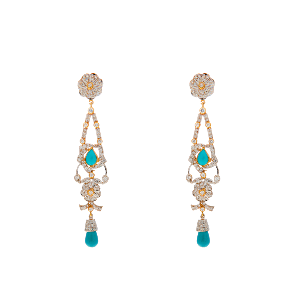 Turquoise drop earrings studded with Cubic Zirconia made in 22 karat gold
