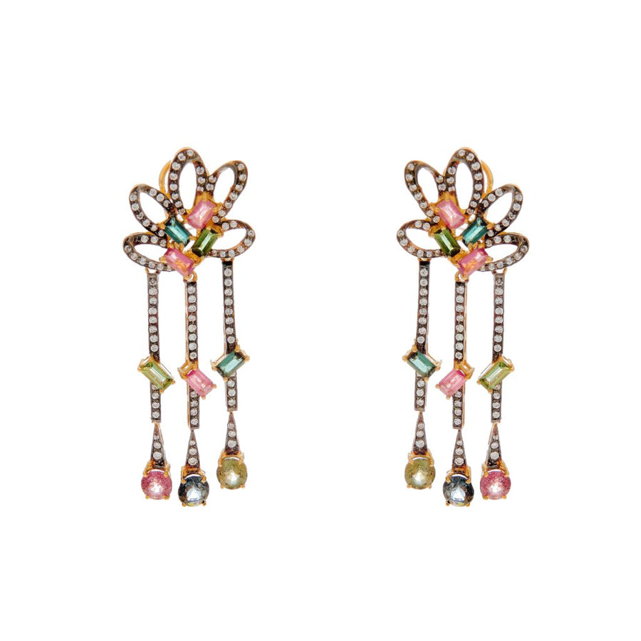 Trendsetting and vivid 2-tone earrings with colored Cubic Zirconia made in 22k gold