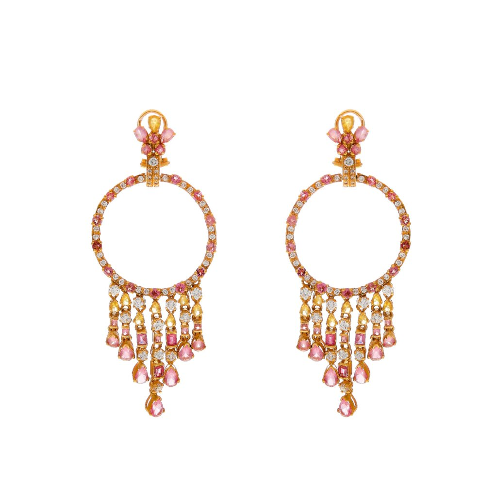 Citrine and Pink Tourmaline earrings made in 22k gold
