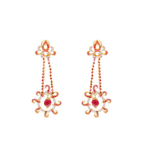 Glittering Ruby and Cubic Zirconia earrings made in 22k gold