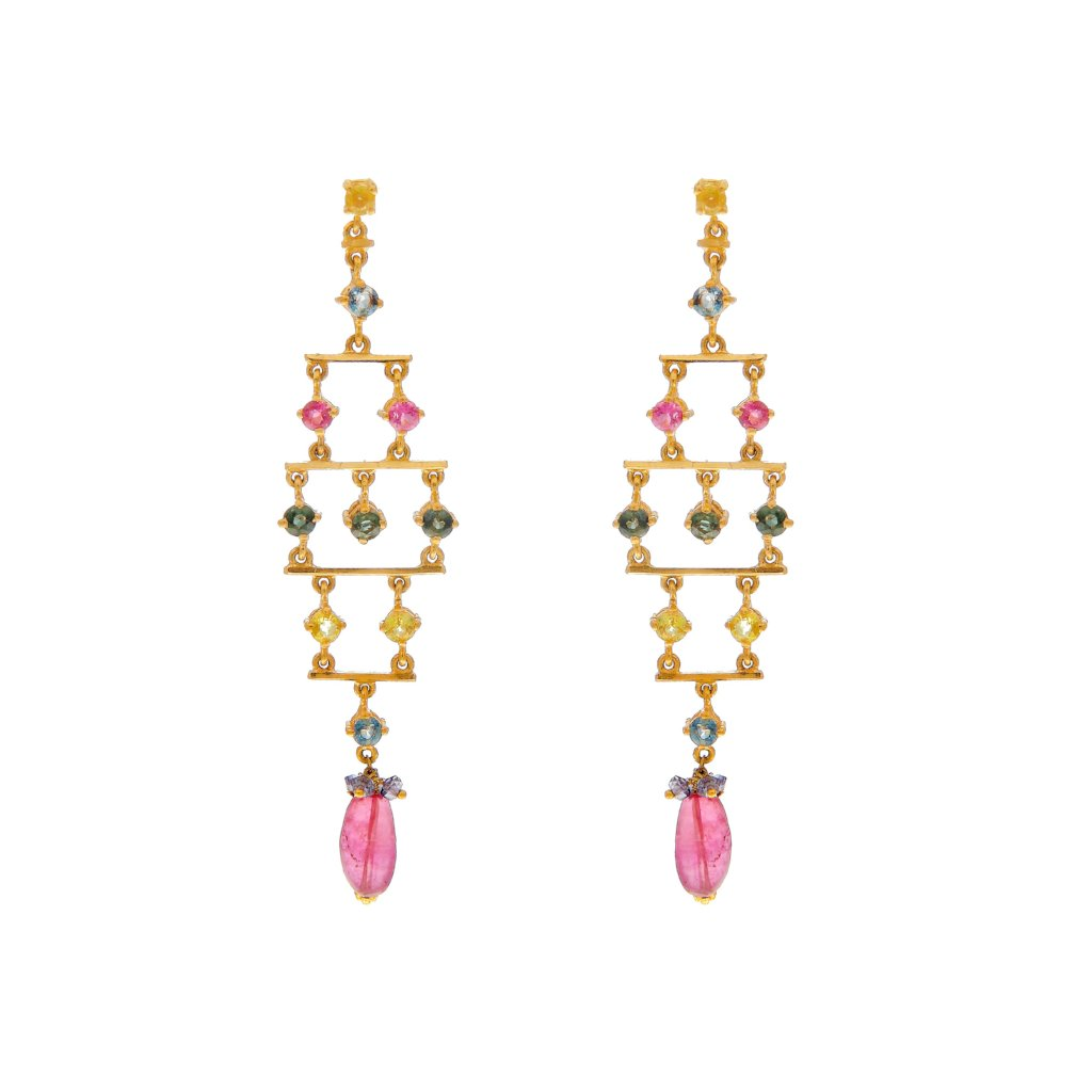 Contemporary colored Cubic Zirconia earrings made in 22k gold
