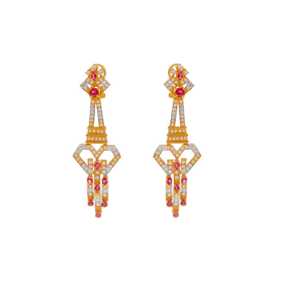 Chic Pink Tourmaline and CZ Earrings handmade in 22 karat gold