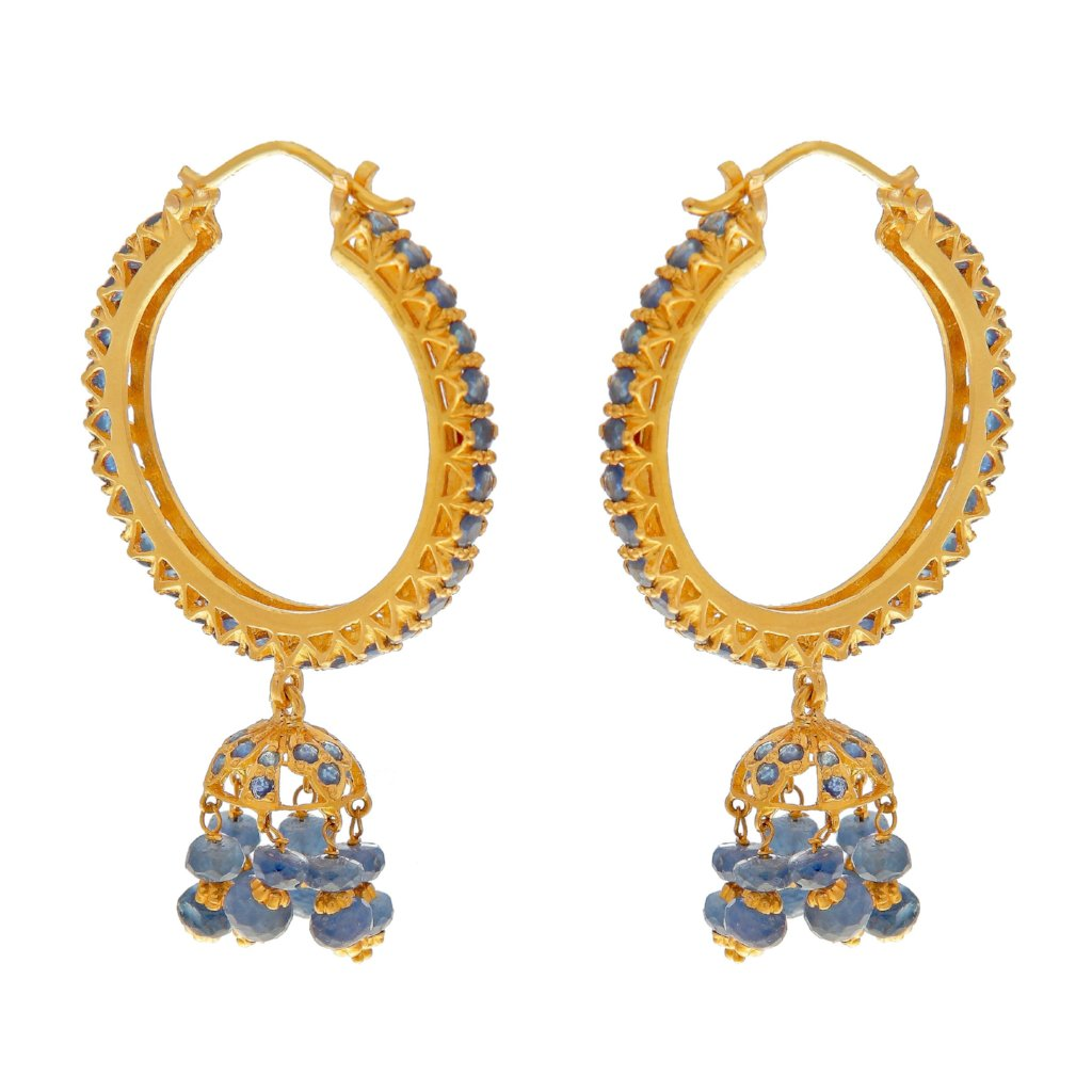 Jhumka Bali bejeweled with Sapphires made in 22k gold