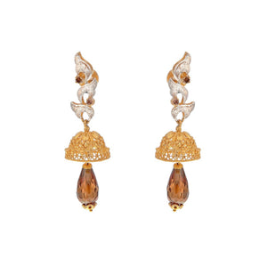 Contemporary Jhumkas adorned with Smokey Quartz and Cubic Zirconia made in 22k gold