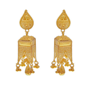Vintage handmade earrings in 22k gold