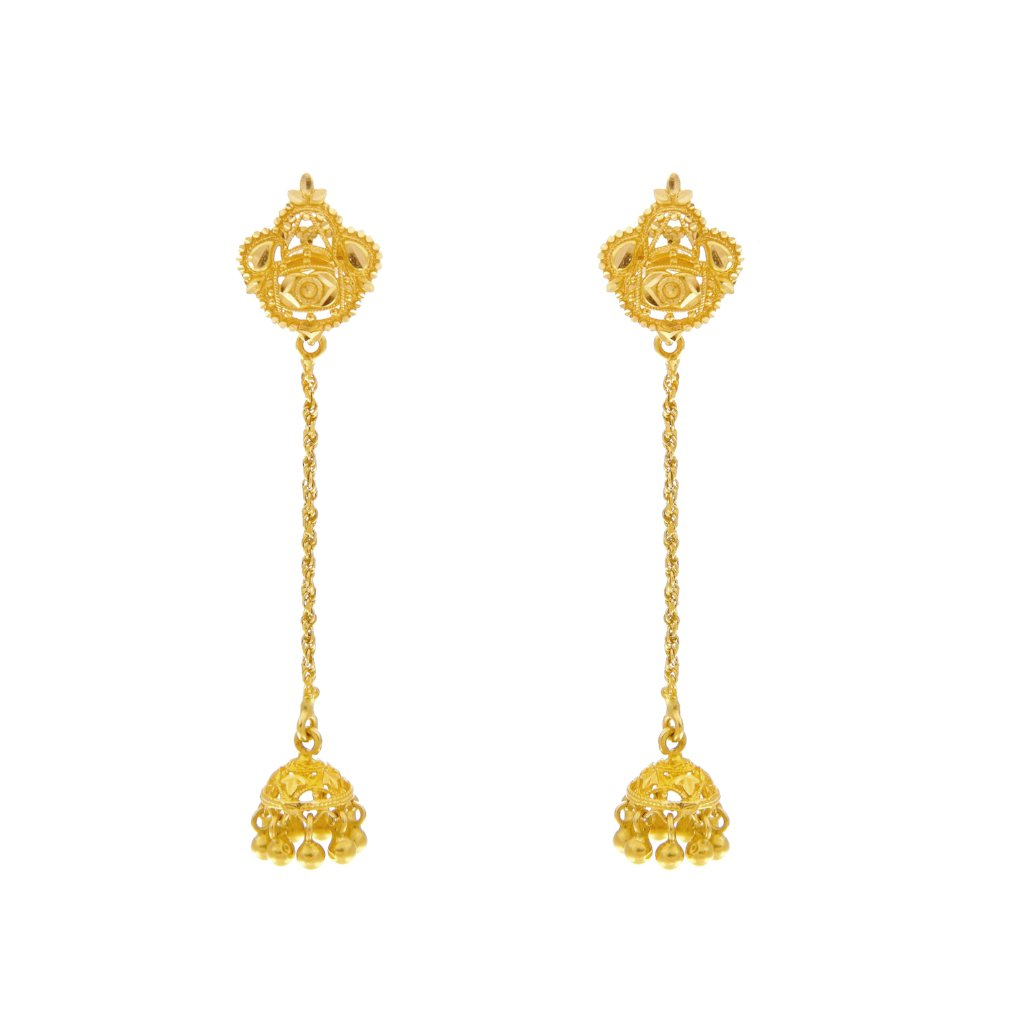 Sleek earrings with filigree work made in 22k gold