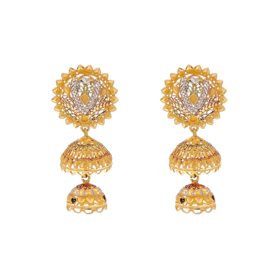 Classic earring in 4-tone finish made in 22k gold