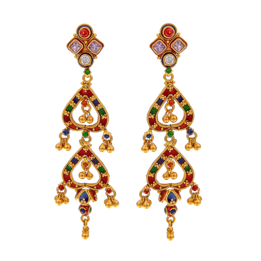 Vibrant earrings with colored cubic zirconia and beautiful mina work made in 22k gold