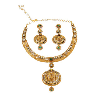 Traditional medallion style necklace set with Pearls and Kundan handmade in 22 karat gold