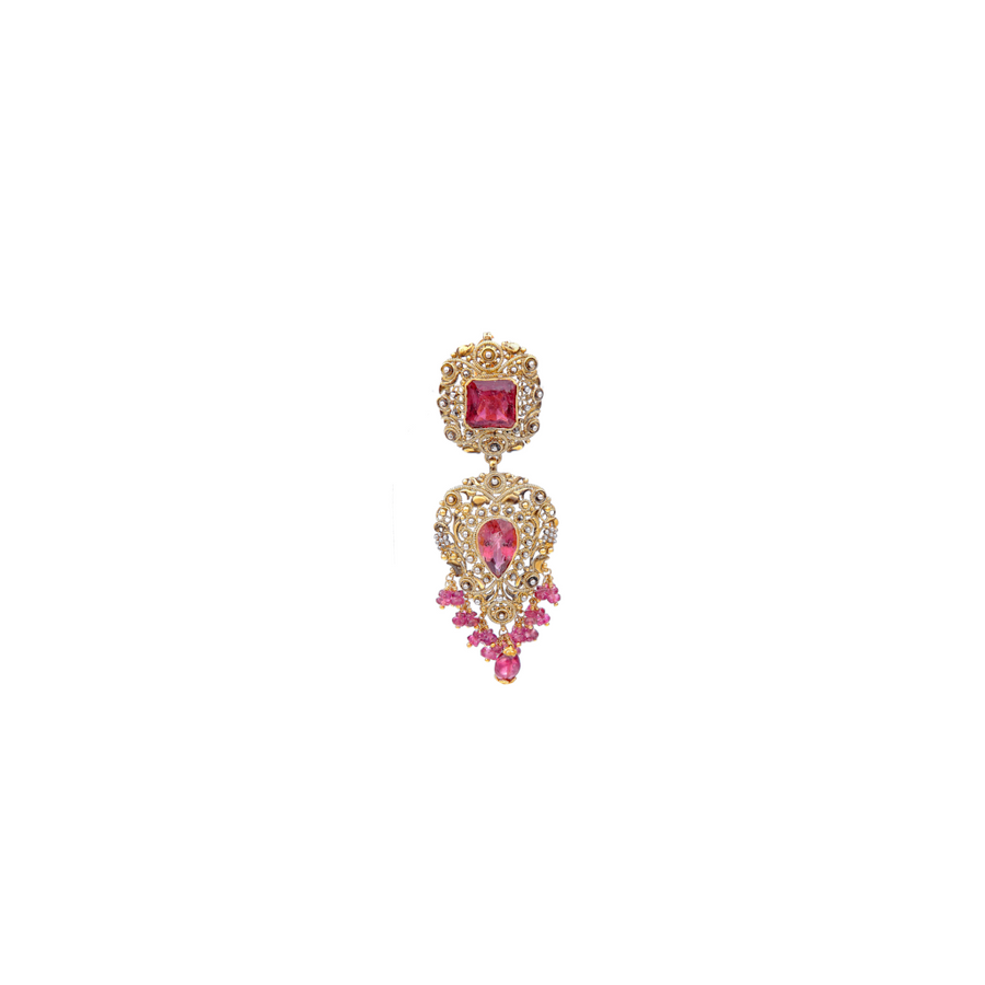 Teardrop styled Pink Tourmaline Pendant Set made in 22 karat gold