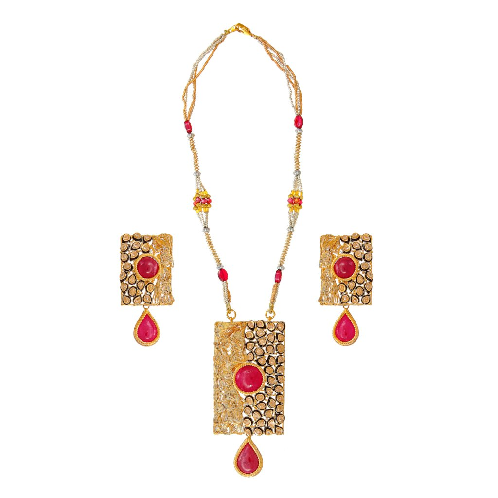 Stunning 22k gold necklace set with Rubies and Polki
