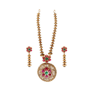 Medallion Style Ruby and Emerald Necklace Set made in 22 karat gold