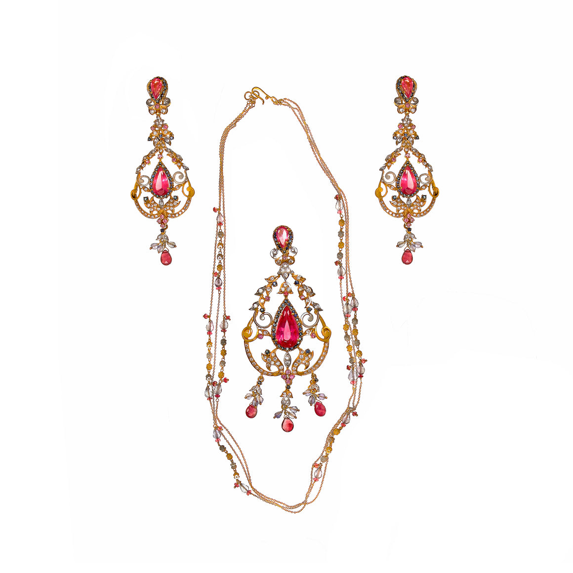 Glamorous Ruby and Tourmaline String Set made in 22k gold