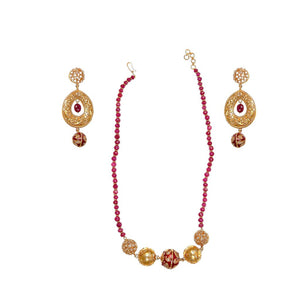 Ruby String Set with Gorgeous Earrings made in 22 karat gold