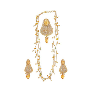 Adorable Amber and Citrine String Set made in 22 karat gold