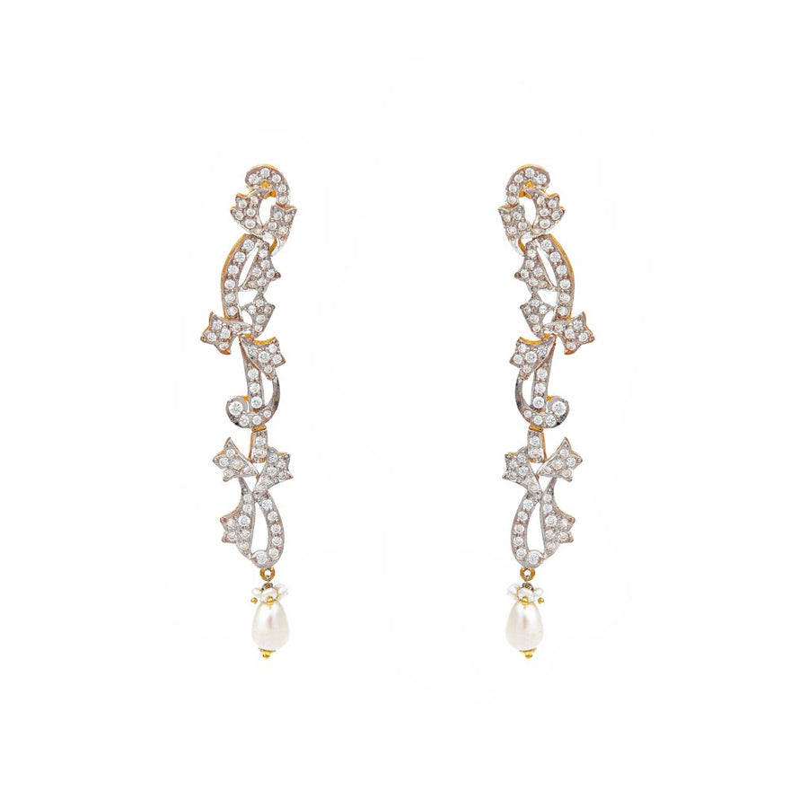 Glittering Cubic Zirconia earrings with a Pearl drop made in 22k gold