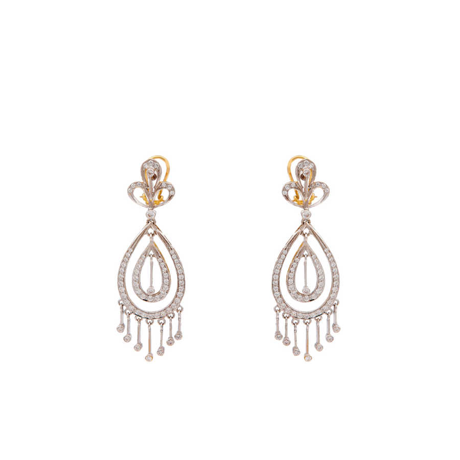 Dazzling teardrop earrings in 2-tone finish studded with Cubic Zirconia and made in 22k gold
