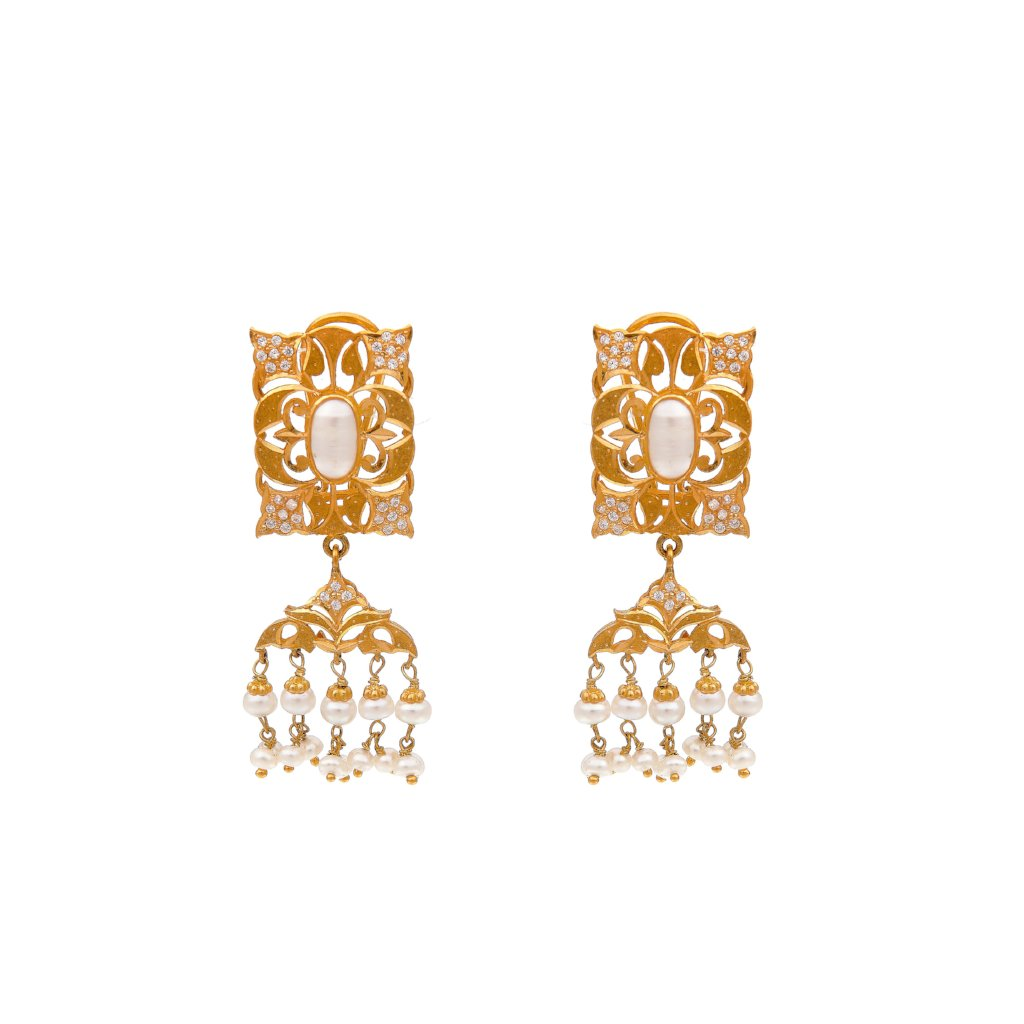 Versatile Pearl and CZ earrings made in 22 karat gold