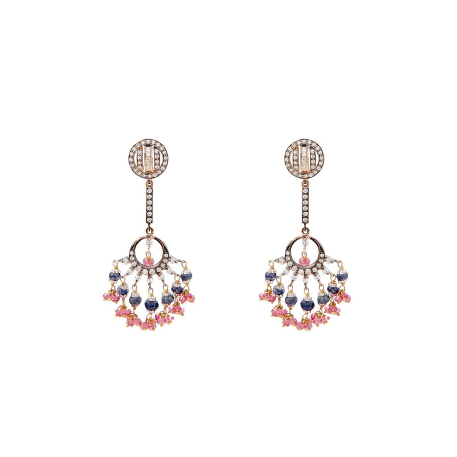 Exquisite Sapphire and Tourmaline Earrings made in 22 karat gold